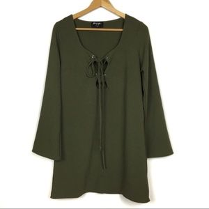 0007 Nasty Gal Green Mercedes Binge lace-up dress